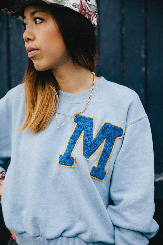 Blue college sweater