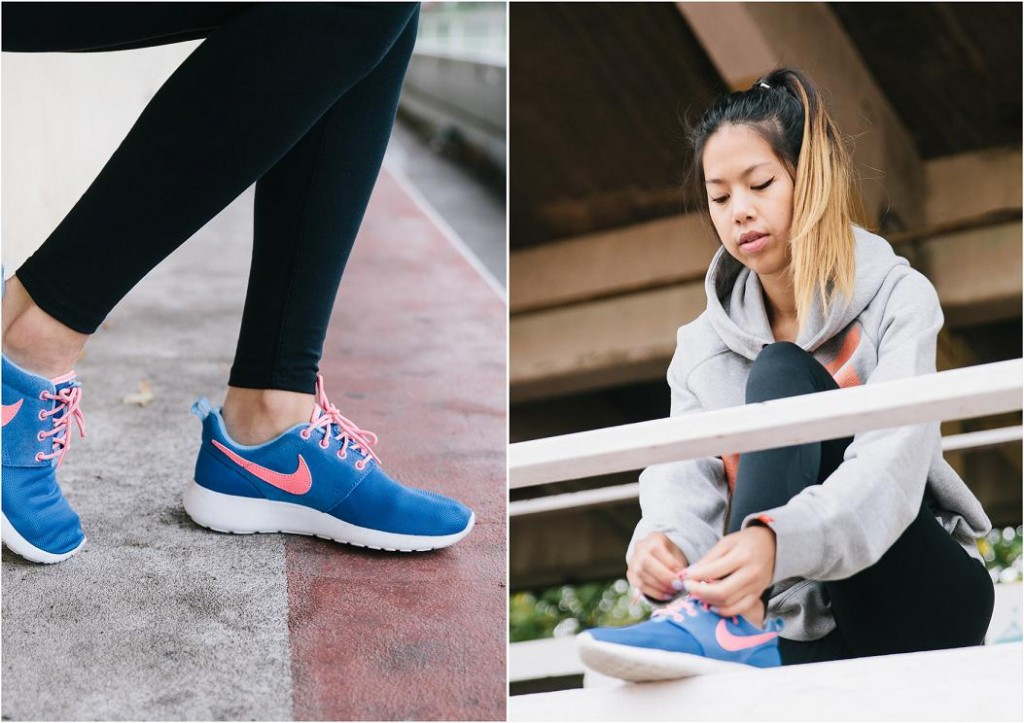 Nike Roshe run bleu et rose