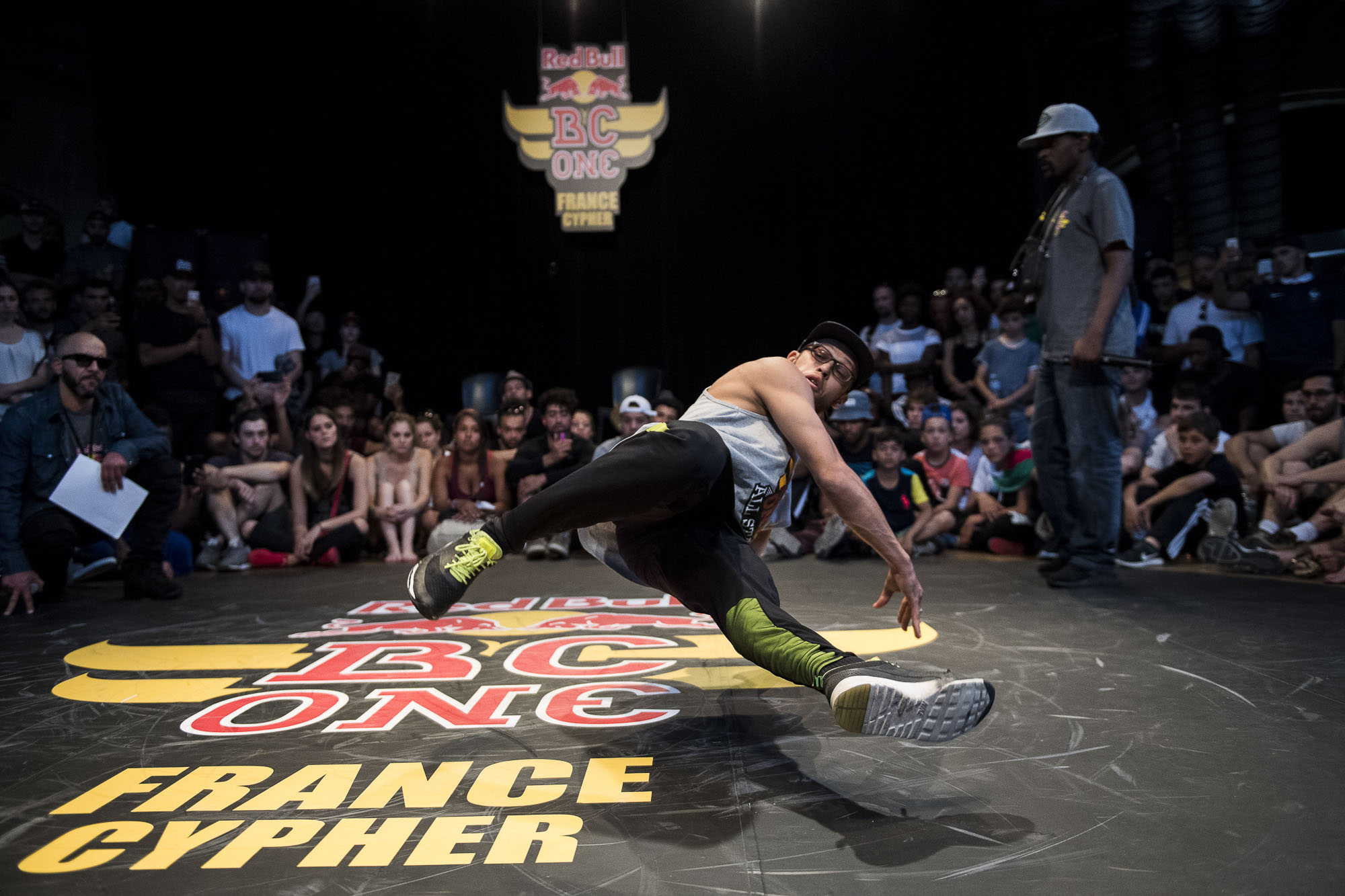 Lilou doing a judge demo at the WIP Villette during the Red Bull BC One France Cypher Final in Paris, France on July 10th 2016.