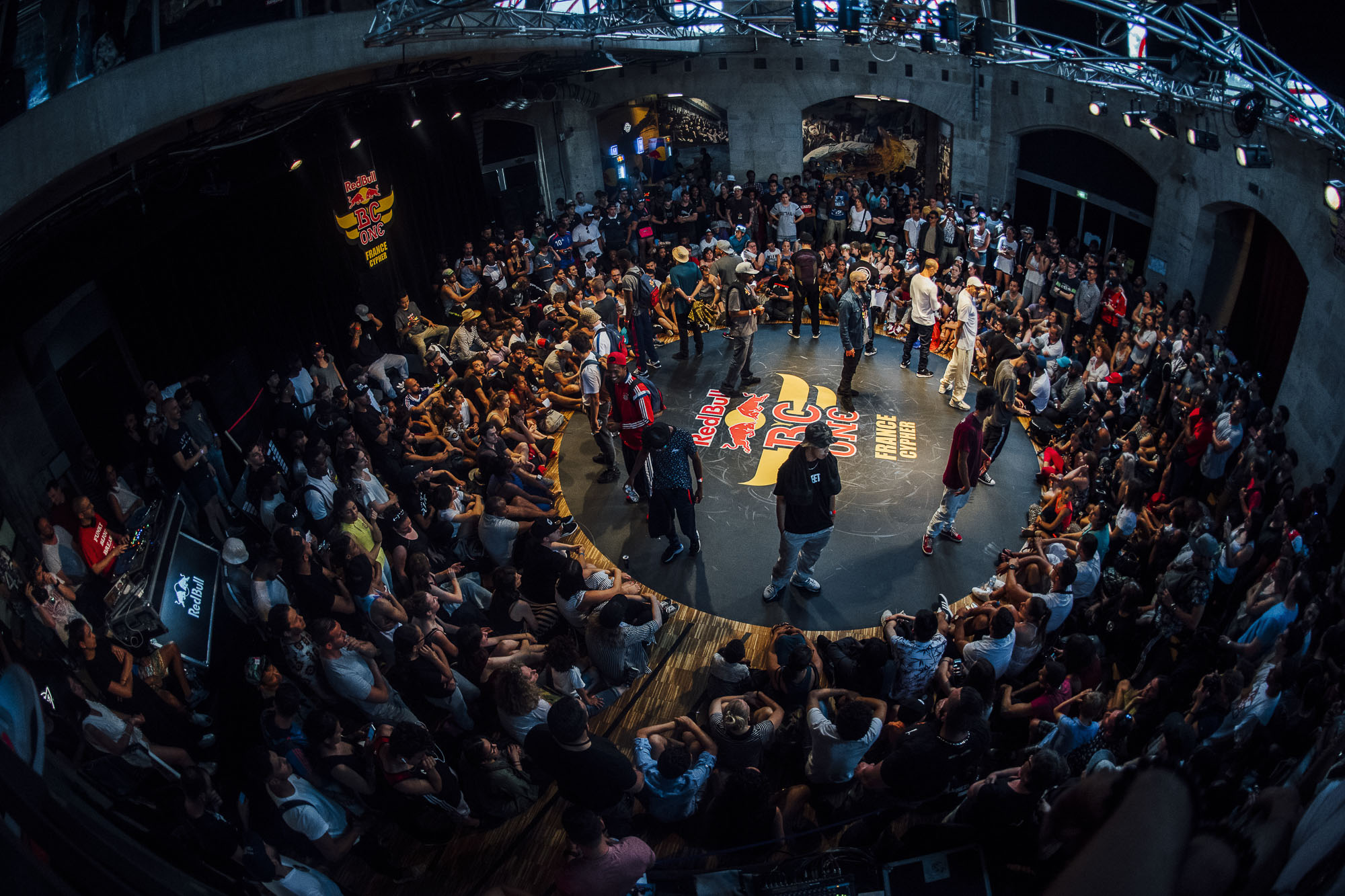 The Top 16 Bboys getting introduced before the competition at the WIP Villette during the Red Bull BC One France Cypher Final in Paris, France on July 10th 2016.
