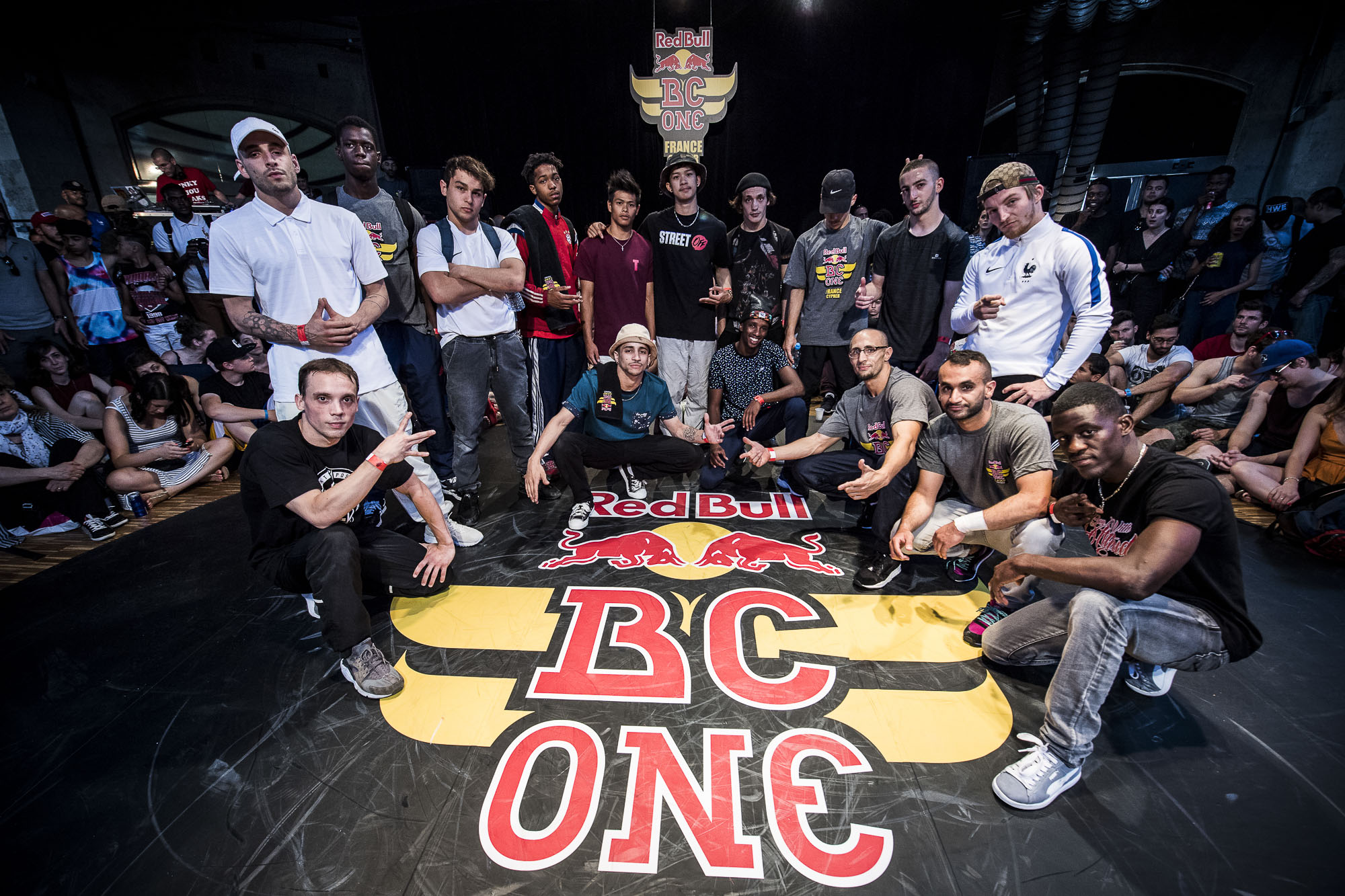 L-R Artson, Fenix, Sekou, Noe, Pluton, Will, Doudou, Timo, Shlag, Niggaz, Khalifa, Nabil, Francklin, Lil Kev, Fever, Dany are The Top 16 BBoys Posing for a portrait before the competition at the WIP Villette during the Red Bull BC One France Cypher Final in Paris, France on July 10th 2016.