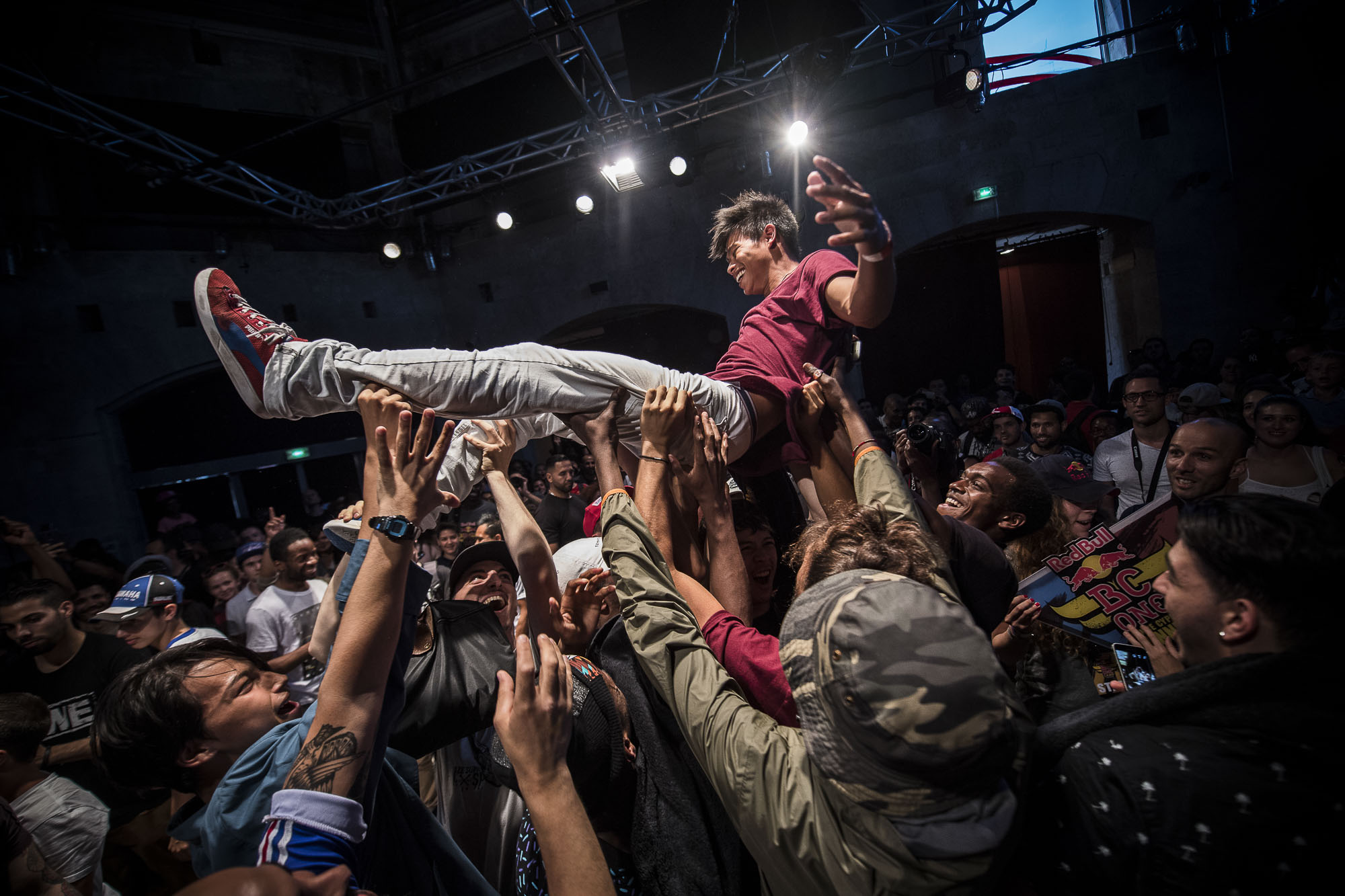 Will (winner) celebrating his victory with his whole crew Tekken from Lyon at the WIP Villette during the Red Bull BC One France Cypher Final in Paris, France on July 10th 2016.