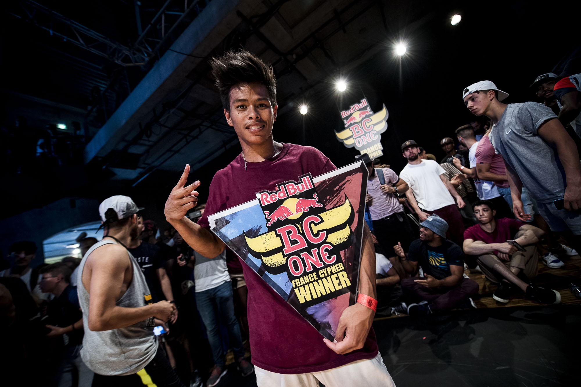 Will winner of the Red Bull Bc One France Cypher posing with the trophee at the WIP Villette during the Red Bull BC One France Cypher Final in Paris, France on July 10th 2016.