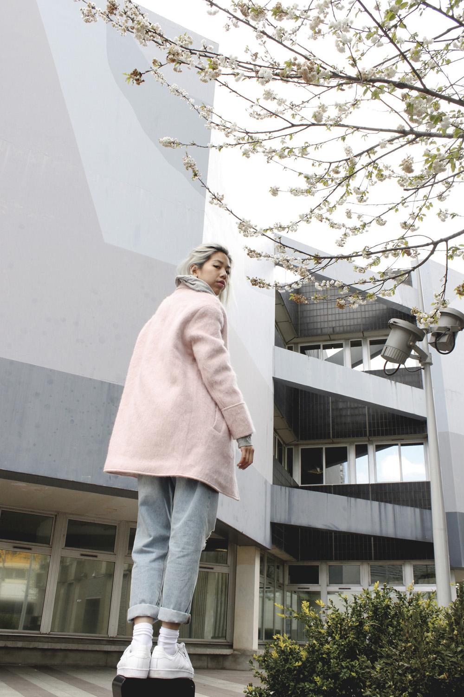 Pink boohoo coat